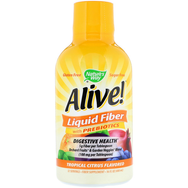 Alive!, Liquid Fiber with Prebiotics, Tropical Citrus Flavored, 16 fl oz (480 ml)