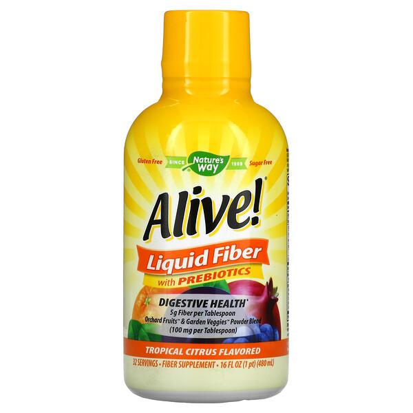 Alive!,带益生菌的液体纤维,热带柑橘味,16 液量盎司(480 毫升)