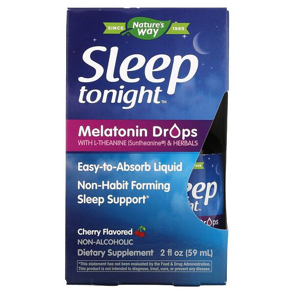 Sleep Tonight, Melatonin Drops With L-Theanine & Herbals, Cherry, 2 fl oz ( 59 ml)
