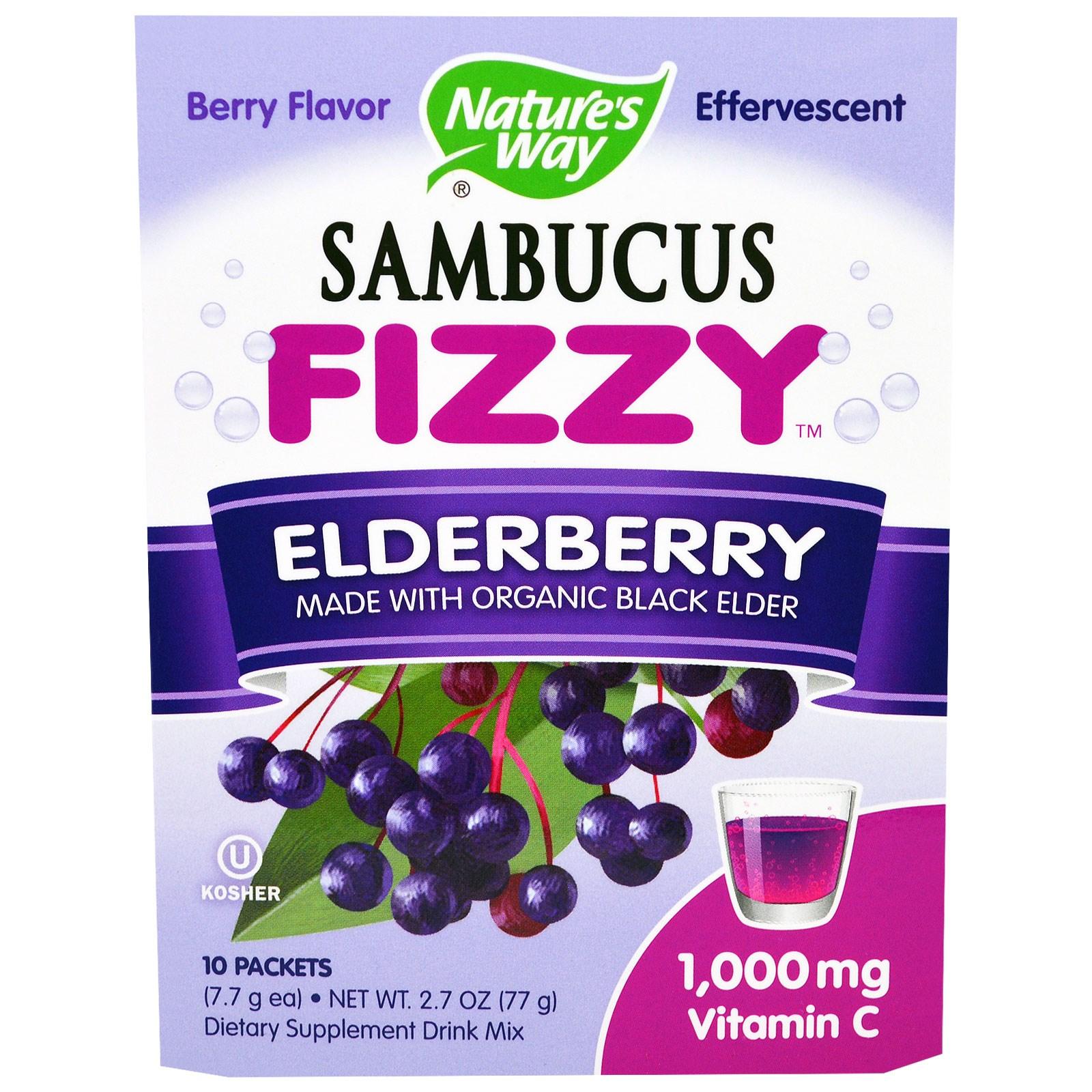 """Nature's Way, """"Бузинная шипучка"""", шипучий напиток с бузиной, с ягодным вкусом, содержит 1 000 мг витамина С, 10 пакетиков по 7,7 г"""
