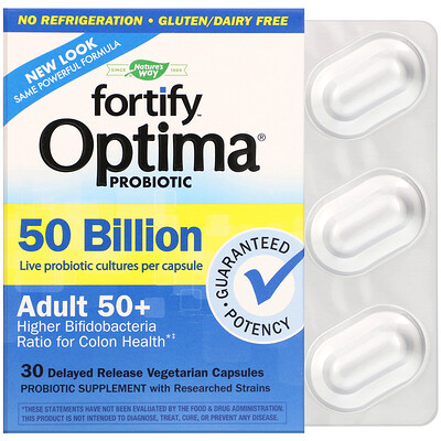 Nature's Way Fortify Optima Probiotic, Adult 50+, 50 Billion, 30 Delayed Release Vegetarian Capsules