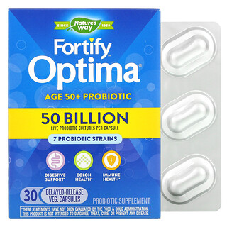 Nature's Way, Fortify Optima Probiotic, Adult 50+, 50 Billion, 30 Delayed Release Veg Capsules