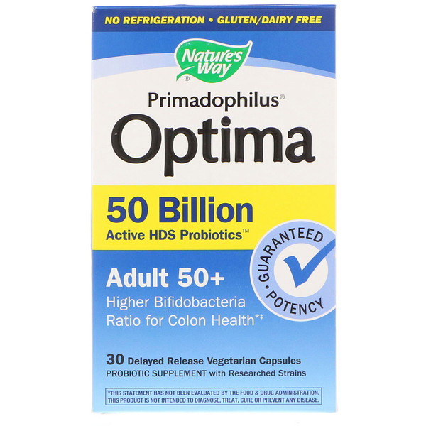 Nature's Way, Primadophilus Optima, Adult 50+, 30 Delayed Release Vegetarian Capsules
