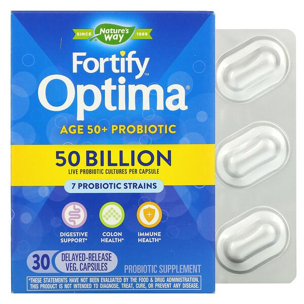 Fortify Optima Probiotic, Adult 50+, 50 Billion, 30 Delayed Release Vegetarian Capsules