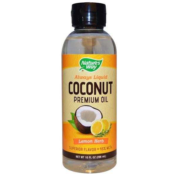 Nature's Way, ココナッツプレミアムオイル、 レモンハーブ、 10 液量オンス (296 ml) (Discontinued Item)