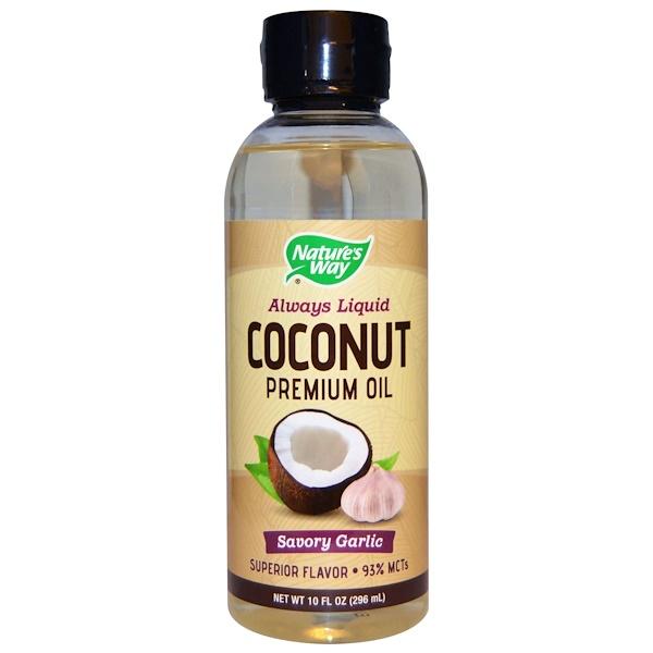 Nature's Way, Coconut Premium Oil, Savory Garlic, 10 fl oz (296 ml) (Discontinued Item)