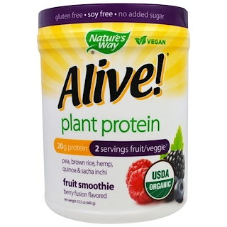 Nature's Way, Alive, Organic Plant Protein, Fruit Smoothie, Berry Fusion Flavored, 15.5 oz (440 g)