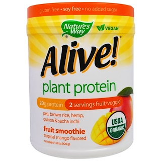 Nature's Way, Organic Alive! Plant Protein, Tropical Mango Flavored, 14.8 oz (420 g)