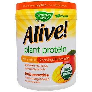 Nature's Way, 유기농 얼라이브! 식물 단백질, 열대 망고 맛, 14.8 온스 (420 g)