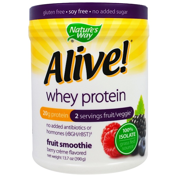 Nature's Way, Alive! Whey Protein, Berry Creme Flavored, 13.7 oz (390 g) (Discontinued Item)