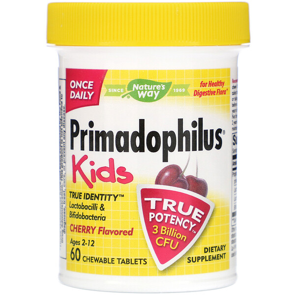 Primadophilus, Kids, Age 2-12, Cherry Flavored, 60 Chewable Tablets