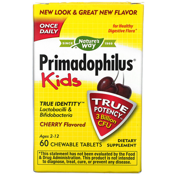 Nature's Way, Primadophilus, Kids, Age 2-12, Cherry Flavored, 60 Chewable Tablets