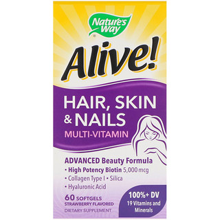Nature's Way, Alive! Hair, Skin & Nails Multi-Vitamin, Strawberry Flavored, 60 Softgels