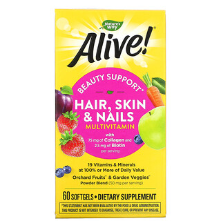 Nature's Way, Alive! Hair, Skin & Nails Multi-Vitamin, Strawberry, 60 Softgels