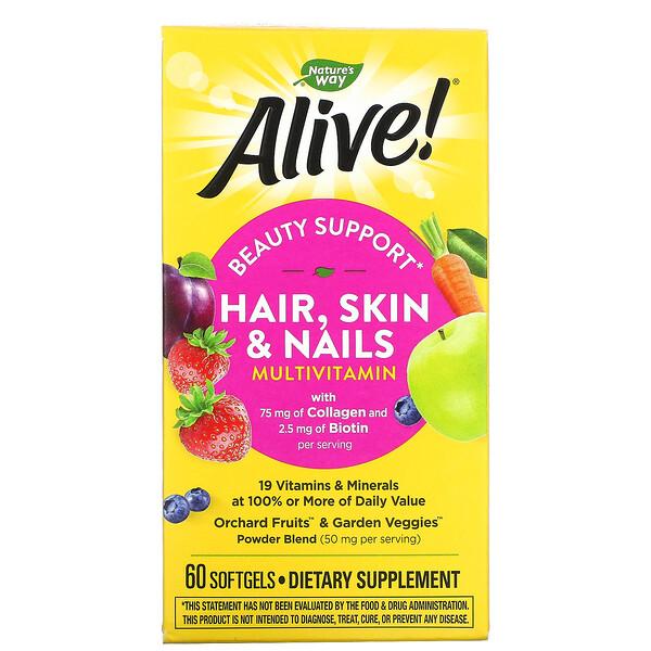 Alive! فيتامينات متعددة للشعر والبشرة والأظافر، فراولة، 60 كبسولة هلامية