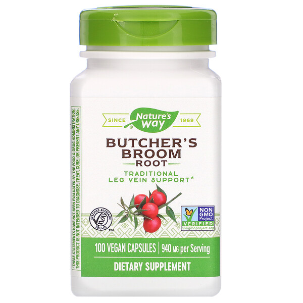 Butcher's Broom Root, 940 mg, 100 Vegan Capsules