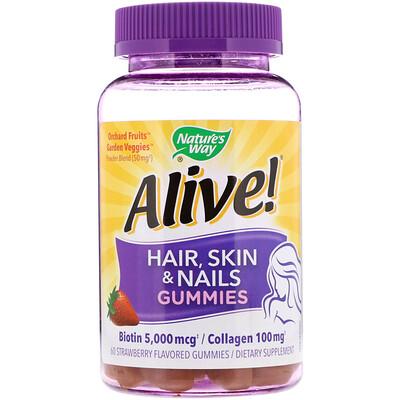 Natures Way Alive! Жевательные таблетки для здоровья волос, кожи и ногтей, со вкусом клубники, 60 шт.