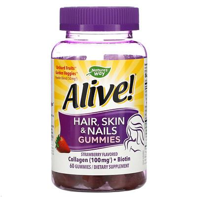 Natures Way Alive! жевательные таблетки для здоровья волос, кожи и ногтей, со вкусом клубники, 60шт.