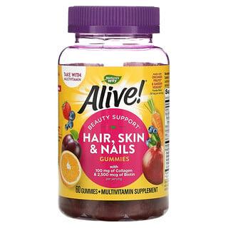 Nature's Way, Alive! Hair, Skin & Nails with Collagen & Biotin, Strawberry, 60 Gummies