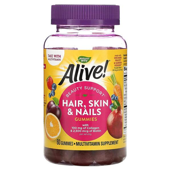 Alive! Hair, Skin & Nails with Collagen & Biotin, Strawberry, 60 Gummies