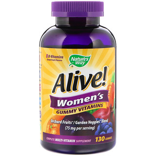 Nature's Way, Alive! Women's Gummy Vitamins, Great Fruit Flavors, 130 Gummies