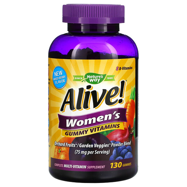 Alive! Women's Gummy Vitamins, Great Fruit Flavors, 130 Gummies