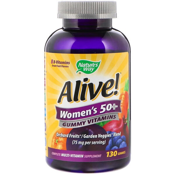 Nature's Way, Alive! Women's 50+ Gummy Vitamins, Fruit Flavors, 130 Gummies