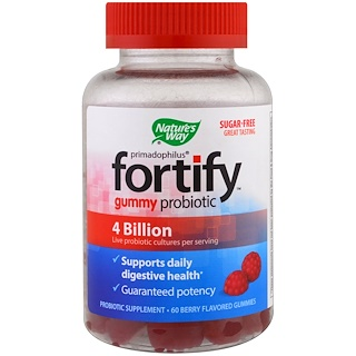 Nature's Way, Primadophilus, Fortify, Gummy Probiotic, Sugar-Free, 60 Berry Flavored Gummies