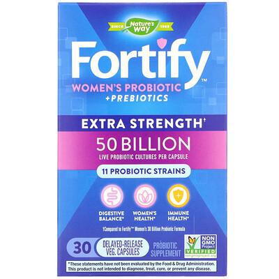 Fortify, Womens Probiotic + Prebiotics, Extra Strength, 30 Delayed-Release Veg. Capsules