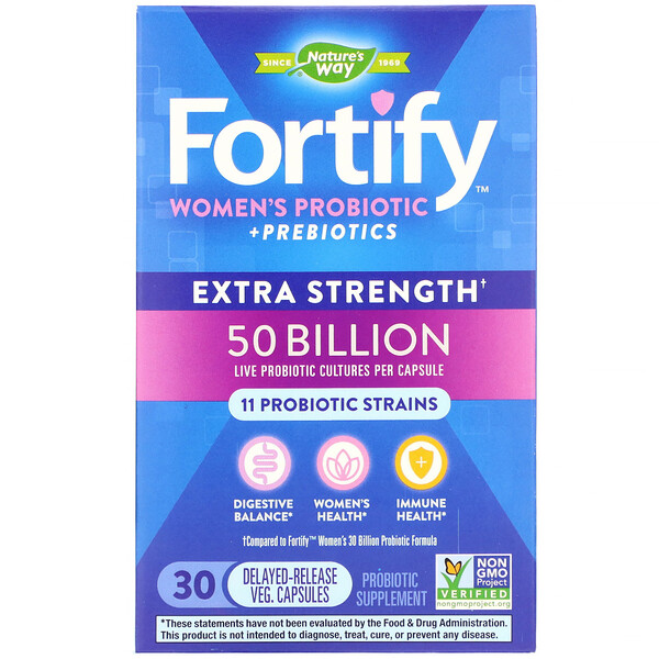 Fortify, Women's Probiotic + Prebiotics, Extra Strength, 30 Delayed-Release Veg. Capsules