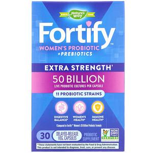 Натурес Вэй, Fortify, Women's Probiotic + Prebiotics, Extra Strength, 30 Delayed-Release Veg. Capsules отзывы покупателей