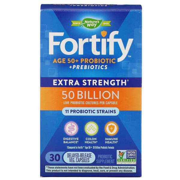 Nature's Way, Fortify, Age 50+ Probiotic + Prebiotics, Extra Strength, 30 Delayed-Release Veg. Capsules