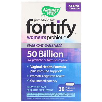 Купить Primadophilus, Fortify, Women's Probiotic, Extra Strength, 30 Vegetarian Capsules