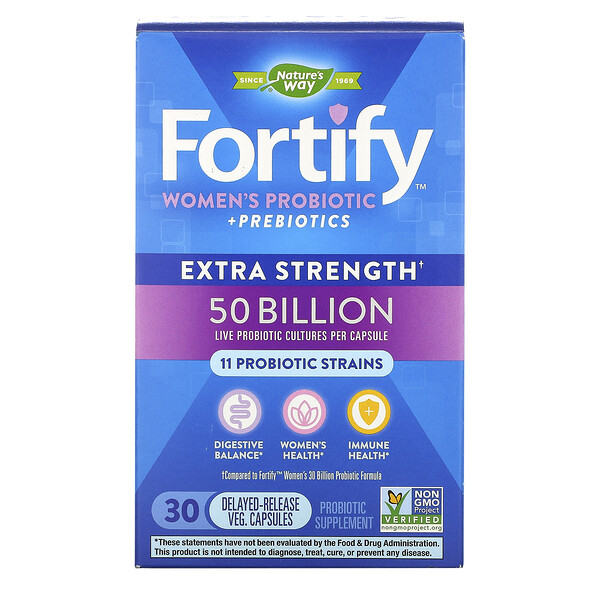 Fortify Women's Probiotic + Prebiotics, Extra Strength, 50 Billion, 30 Delayed-Release Veg. Capsules