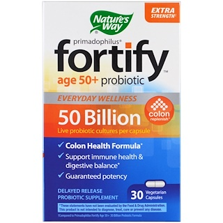 Nature's Way, Primadophilus, Fortify Age 50+ Probiotic, Extra Strength , 30 Veggie Capsules