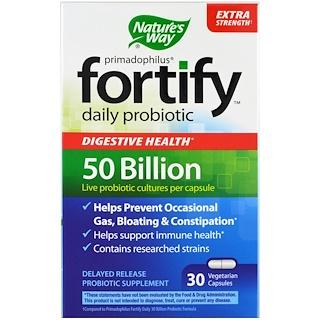 Nature's Way, Primadophilus, Fortify, 데일리 프로바이오틱, 엑스트라 스트렝스, 30 식물성 캡슐