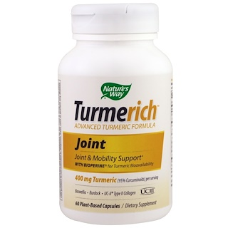 Nature's Way, TurmeRich Joint, 400 mg Turmeric, 60 Plant-Base Capsules