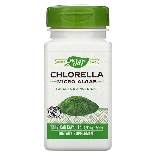 Nature's Way, Chlorella, Micro-Algae, 1,230 mg, 100 Vegan Capsules