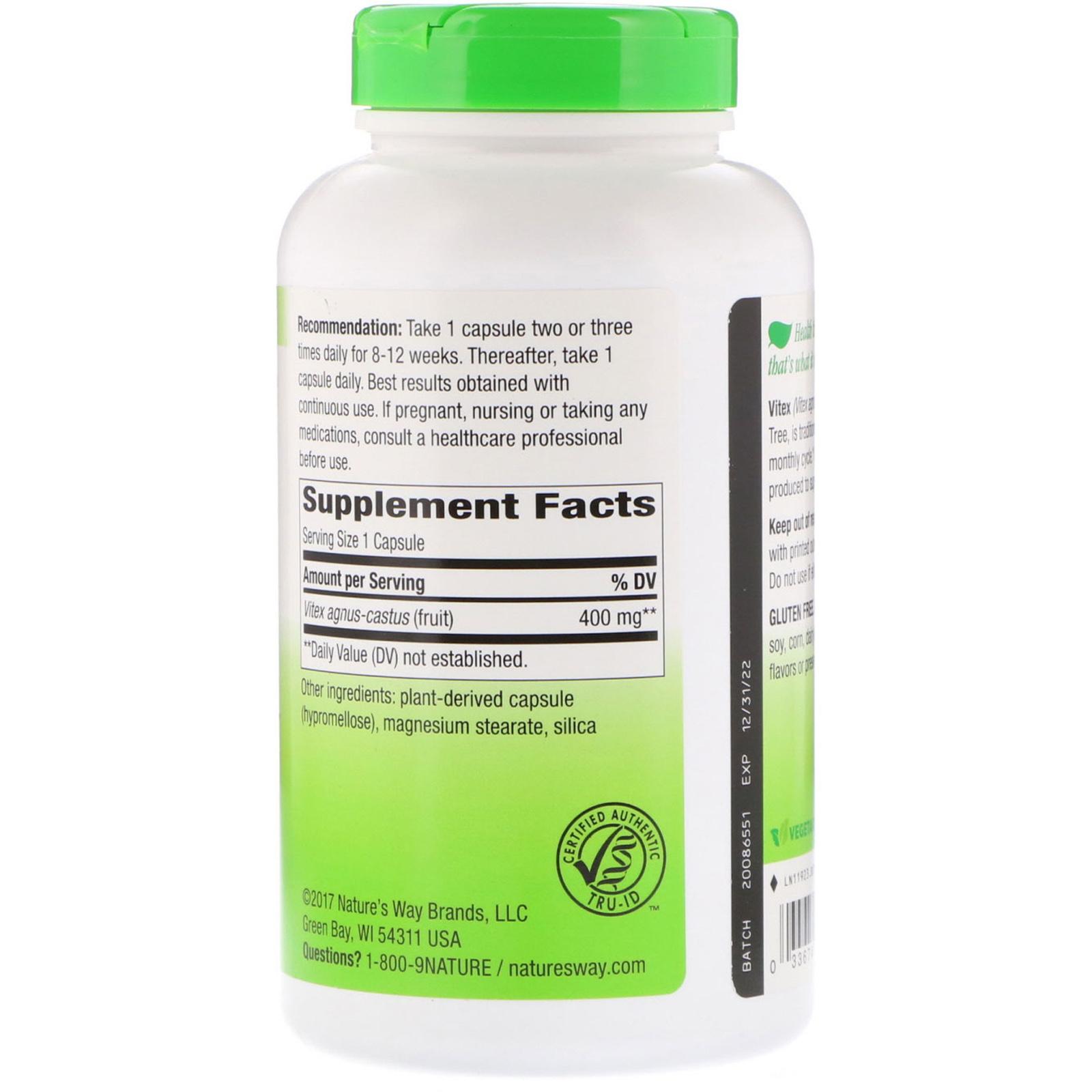 Nature's Way, Vitex Fruit, 400 mg, 320 Vegetarian Capsules