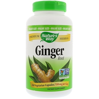 Nature's Way, Ginger Root, 550 mg, 240 Vegetarian Capsules