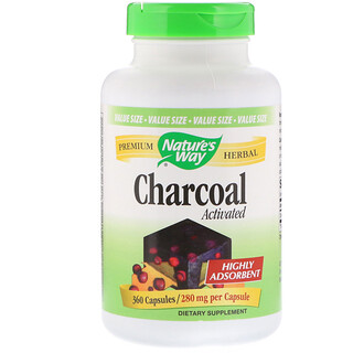 Nature's Way, Charcoal, Activated, 280 mg, 360 Capsules
