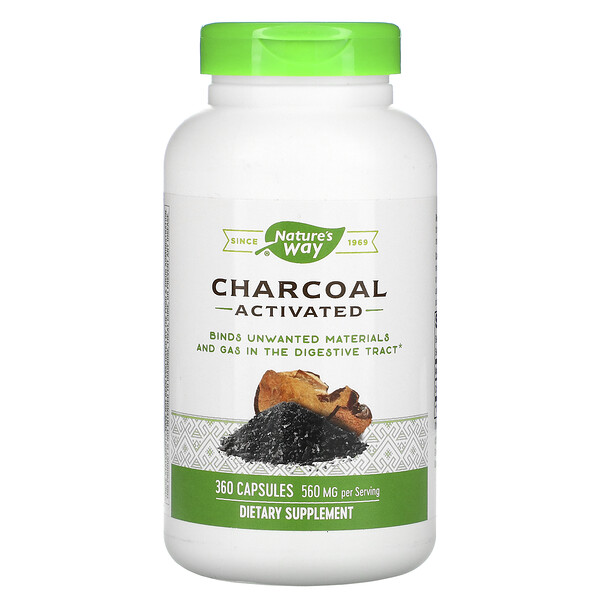 Nature's Way, Charcoal, Activated, 560 mg, 360 Capsules