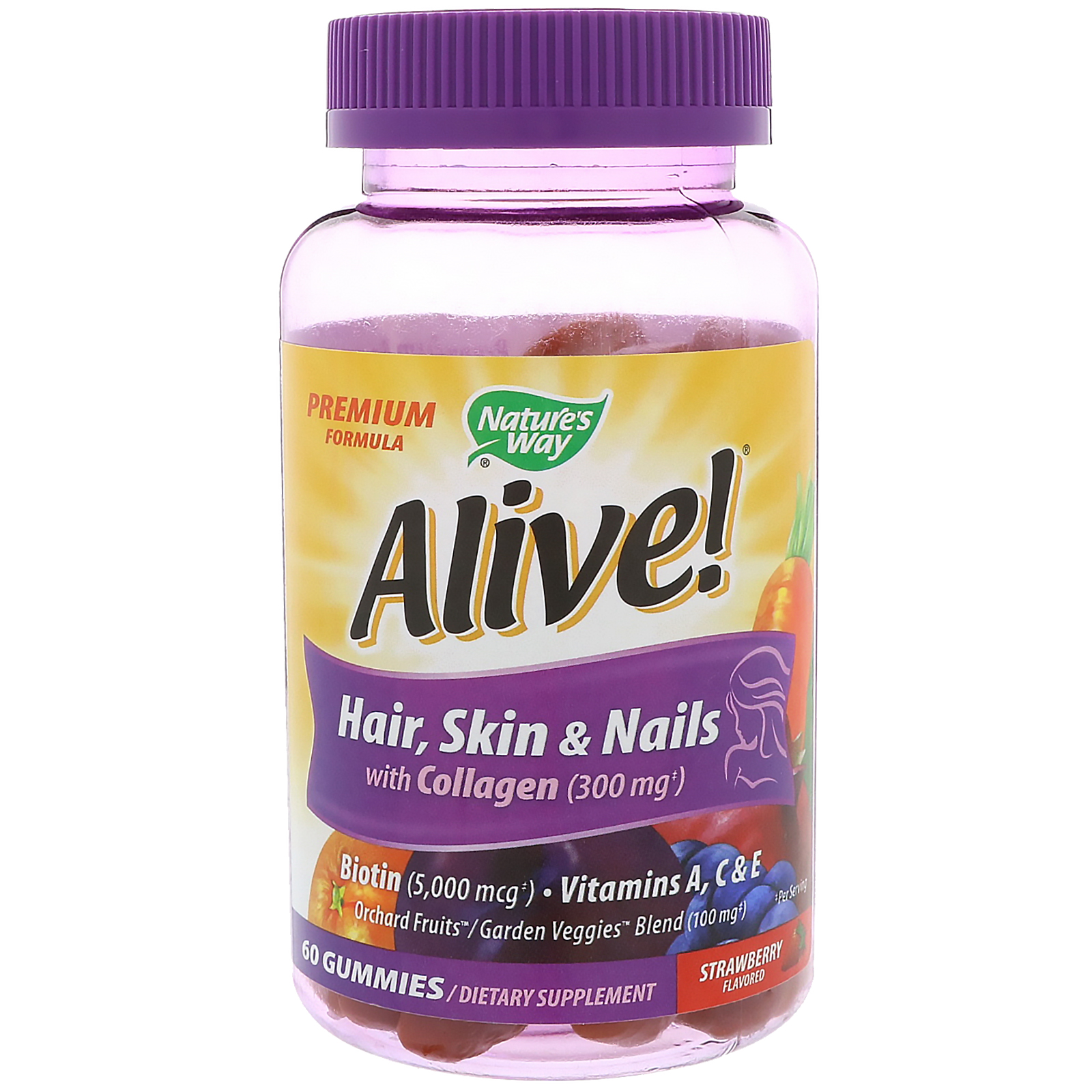 Nature\'s Way, Alive! Hair, Skin & Nails with Collagen, Strawberry ...