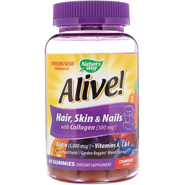 Nature's Way, Alive! Hair, Skin & Nails with Collagen, Strawberry Flavored, 60 Gummies