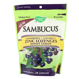 Nature's Way, Sambucus, Zinc Lozenges, Honey Lemon, 24 Lozenges