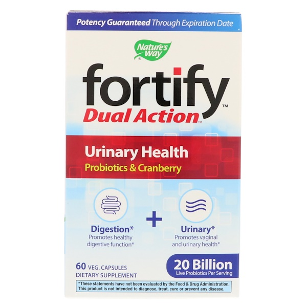 Nature's Way, Fortify, Dual Action Urinary Health, 20 Billion, 60 Veg Capsules
