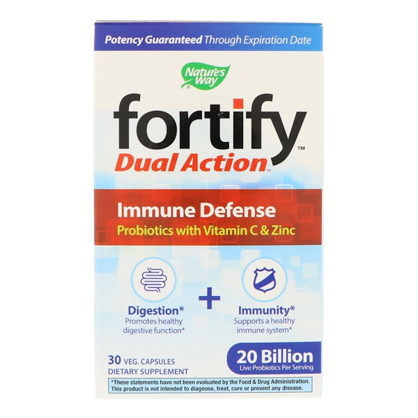 Nature's Way, Fortify, Dual Action Immune Defense, 20 Billion, 30 Veg Capsules