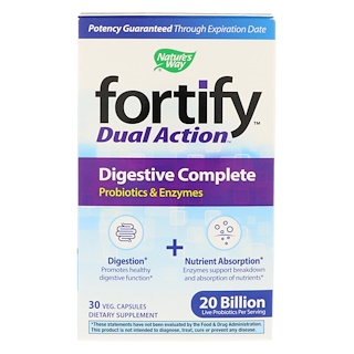 Nature's Way, Fortify, Dual Action Digestive Complete, 20 Billion, 30 Veg. Capsules