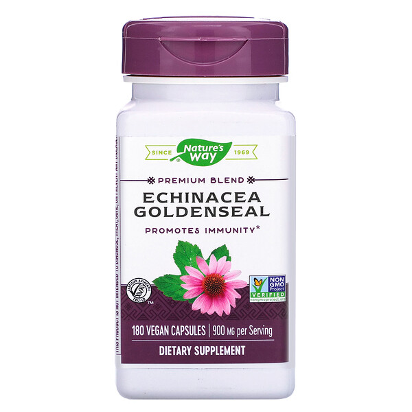 Nature's Way, Echinacea Goldenseal, 900 mg, 180 Vegan Capsules