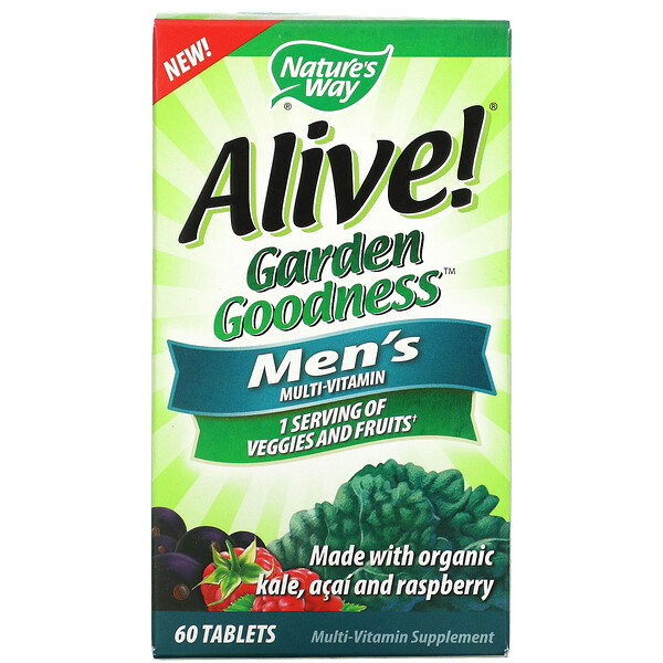 Nature's Way, Alive! Garden Goodness, Men's Multivitamin, 60 Tablets